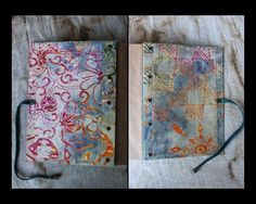 BATIK JOURNAL with BATIK BOOKMARK - inside front & back por MOONWATER BOOKS