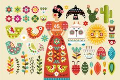 Frida - Mexican Folk Art Kit - Hi! I represent to your attention set in the Mexican style Frida! Mexican Artwork, Mexican Folk Art, Mexican Style, Illustrations, Illustration Art, Mexican Pattern, Scandinavian Folk Art, Mexican Designs, Grafik Design