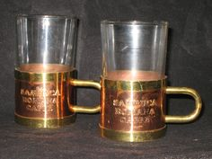 Sambuca Romana Caffe Glasses with Copper and Brass Removable Holders/Vintage Coffee Glasses/Vintage Sambuca Glasses with Holders/SET OF 2 by iLikeEclectic on Etsy