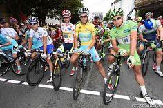 Jersey leader photo op: Thibaut Pinot (FDJ.fr), Rafal Majka (Tinkoff - Saxo), Vincenzo Nibali (Astana), Peter Sagan (Cannondale) prior to the start in Maubourguet Val d'Adour