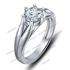 Solitaire Rd Sim Diamond 925 Sterling Silver Romantic Gift Prong Set Sweet Ring #Unknown #WomensSolitaireRing