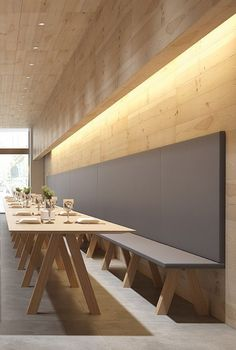 restaurant wood Trestle by John Pawson. Back to Basics - Viccarbe presents its new Bench Seating System and Matching Table Restaurant Design, Concept Restaurant, Architecture Restaurant, Deco Restaurant, Restaurant Lighting, Interior Architecture, Restaurant Seating, Restaurant Ideas, Café Design