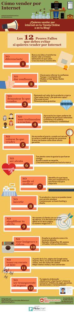 Cómo vender por Internet: los 12 peores fallos que puedes tener #infografia #infographic #eCommerce
