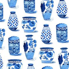 Indigo pots - pattern by Jennifer Orkin Lewis (August wren) Blue And White China, Blue China, Drawing Projects, Art Projects, Posters Vintage, Wren, Art Plastique, New Artists, Chinoiserie
