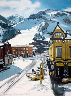 Image of Aspen Block by Linda Roberts, Aspen, CO, snow Watercolor Landscape, Watercolor Print, Watercolor Paintings, Aspen Colorado, Skiing Colorado, Winter Painting, Scenery, Snow, Gallery