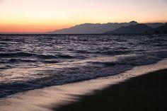 Crete beach at sunrise