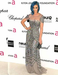 Katy Perry wears Blumarine to the Elton John AIDs Foundation Academy Awards party in LA, February 2012.