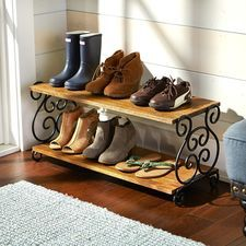 Crafted of mango wood and iron scrollwork, our decorative rack puts a flourish on shoe storage in your entryway, mudroom or closet. Entryway Furniture, City Furniture, Deck Furniture, Unique Furniture, Metal Shoe Rack, Diy Shoe Rack, Shoe Racks, Wood Shoe Storage, Shoe Tidy