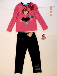 NEW Girls Dora the Explorer Outfit Shirt Jeggings 3D Sequin Detail Bows Size 4 #Nickelodeon #Everyday