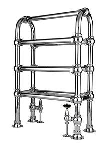 Freestanding Hooped Towel Rail from Drummonds.  Hot water heated towel rail.
