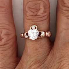 Rose Gold Plated Sterling Silver Claddagh Clear CZ Heart Ring