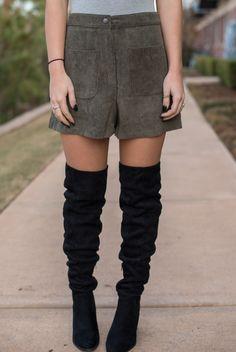 b2ed24b16331b Olive high waist corduroy shorts from Lush Fashion Lounge Corduroy Shorts