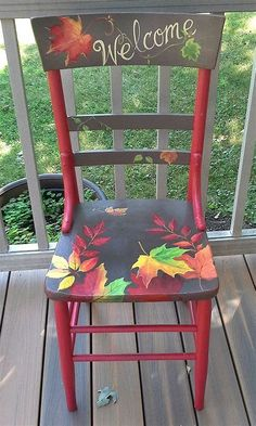 ideas about Hand Painted Chairs Hand Painted Chairs, Funky Painted Furniture, Paint Furniture, Upcycled Furniture, Furniture Projects, Furniture Makeover, Wooden Chair Makeover, Furniture Dolly, Furniture Movers