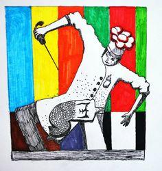 Plumones sobre papel de José Izquierdo.  Ilustración / Clase de Arte