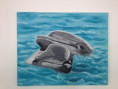 Delfini acrilico su tela
