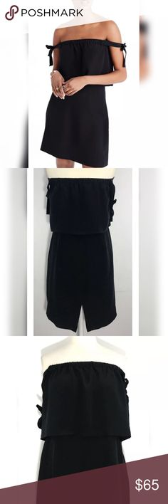 "Madewell Off-The-Shoulder Dress 100% Silk Excellent condition, like new Silky smooth off the shoulder Tie knot straps Elastic band Zipper back, 100% silk  Approx. Measurements laying flat Bust 16"" Waist 14"" Length 29"" (measured from top neckline) Madewell Dresses Mini"