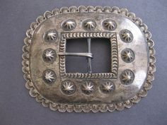 Navajo Stamped and Repousse Silver Buckle ca 1950