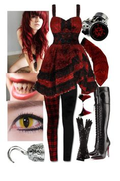 """""""Nightmare Foxy (Human FNAF Girls)"""" by thefnaftheorists ❤ liked on Polyvore featuring GAS Jeans, Maison Kitsuné, Christian Louboutin and Dolce&Gabbana"""