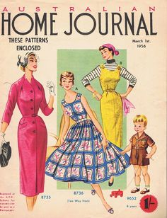 Vintage Sewing Patterns.  1956  Australian Home Journal, contains 3 dress Patterns. $30.00, via Etsy.