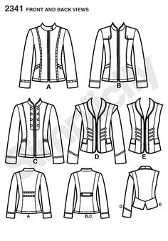 Womens jacket with princess lines Sewing Pattern 2341 Simplicity
