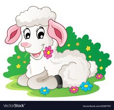 Illustration of Cute lamb with flowers - vector illustration vector art, clipart and stock vectors. Cartoon Lamb, Cute Cartoon, Cute Lamb, Farm Cookies, Cartoon Drawings, Vector Art, Vector Stock, Pet Birds, Wall Murals
