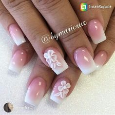 Cute Pink and white acrylic nails