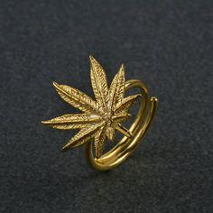 Η κάνναβη ringOpen Δαχτυλίδι 925 SilverMarijuana