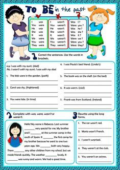 To Be - Past Simple Language: English Level/group: Elementary School subject: English as a Second Language (ESL) Main content: Verb to be - past simple Other contents: verb to be Teaching English Grammar, English Grammar Worksheets, Verb Worksheets, Worksheets For Kids, Simple Past Verbs, Simple Past Tense, English Games, English Activities, Verb To Be Past