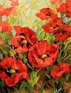 Unfurled - Red Poppies - by Nancy Medina