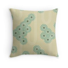 'Teal Floral Pattern' Throw Pillow by Teal Throw Pillows, Decorative Throw Pillows, Room Decor, Beige, Decoration, Floral, Pattern, Color, Decor
