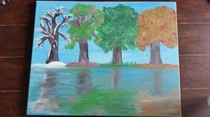 Seasonal Trees in Reflective Lake by BridgetEllenS on Etsy, $35.00