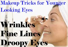 Makeup Tricks for Younger Looking Eyes When Dealing with Wrinkles, Fine Lines, & Droopy Eyes - Cosmetic Surgery Makeup Tricks, Eye Makeup Tips, Makeup Products, Beauty Products, Eye Tricks, Hair Makeup, Droopy Eye Makeup, Droopy Eyes, Beauty Secrets