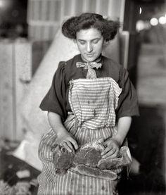 """New York, 1908. """"Stuffing a Teddy Bear."""""""