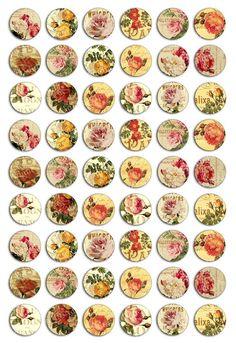 Vintage Roses on Vintage Ads 1 inch Circles - Adidit digital collage sheet 074 Papel Vintage, Vintage Tags, Vintage Labels, Vintage Paper, Vintage Prints, Bottle Cap Art, Bottle Cap Images, Vintage Flowers, Vintage Floral