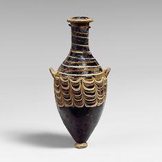 Glass unguentarium (perfume bottle). Hellenistic, 3rd centurey BC,  Eastern Mediterranean possibly Alexandrian