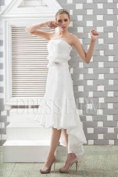 Attractive Empire Strapless Asmmetry Sash Anita's Wedding Dress