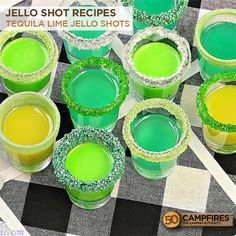 Tequila Lime Jello Shots - 50 Campfires lawn games and some fantastic beverages. Break out of the ordinary beer or simple cocktail that you usually go with and try these Tequila Lime Jello Shots. Lime Jello Shots, Margarita Jello Shots, Jelly Shots, Vodka Shots, Jello Shots With Tequila, Tequila Drinks, Drinks Alcohol, Margarita Recipes, Party Drinks