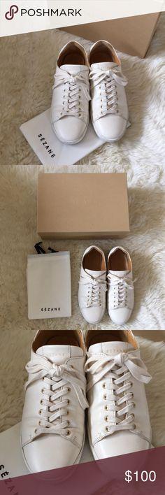 Sezane Jack Sneakers In Ecru Size 39 Sezane Jack Sneakers In Ecru Off White