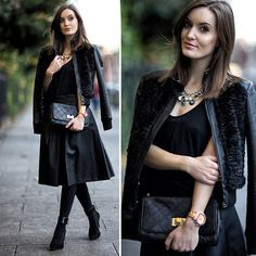 Style Inspiration: Marciano Jacket, Marciano Clutch, Guess? Watch, Midi Skirt