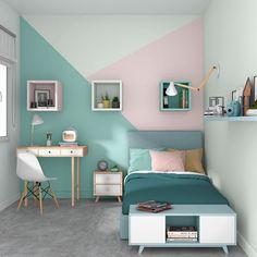 Girl Bedroom Walls, Bedroom Wall Colors, Room Design Bedroom, Home Room Design, Girl Room, Bedroom Decor, Teen Room Decor, Small Rooms, House Rooms