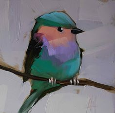 Lavender-breasted Roller Bird no. 3 Painting | angela moulton's painting a day