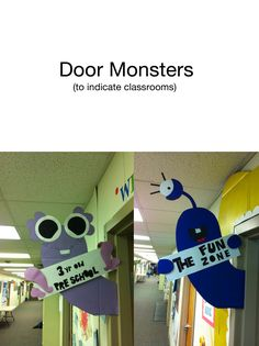 Door Monsters to mark grades and rooms The Monster Squad Monster Theme Classroom, New Classroom, Classroom Design, Classroom Displays, Classroom Themes, Classroom Organization, Monster Bulletin Boards, Space Classroom, Monster Door