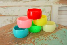 1980s COLORFUL Napkin Rings Set.  Best colors!