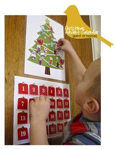 Christmas Advent Calendar  Print at home by twirlybirdbaby on Etsy, $6.00