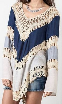 Shades of Blue + Lace Crochet Sexy V-Neck Long Sleeve Hollow Out Asymmetrical Women's Cover Up