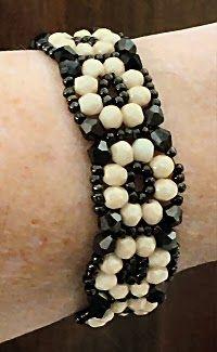 Linda's Crafty Inspirations: Crystal Tile Bracelet - Black & Ivory