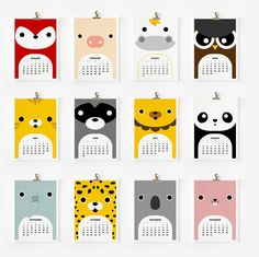 2013 Calendar Cute Animal 4 x 6 by loopzart on Etsy. , via Etsy. Cool Calendars, Cute Calendar, 2013 Calendar, Kalender Design, Bulletins, Animal Faces, New Year Gifts, Cute Baby Animals, Felt Animals