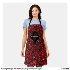 Monogram | CRANBERRIES Apron Fall Home Decor, Autumn Home, Autumn Fall, Summer Bbq, Cranberries, Apron, Cool Designs, Arts And Crafts, Thanksgiving