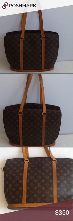 Authentic Louis Vuitton Babylone Monogram Bag Tote Leather and straps showed signs of used. The inside linen had done light stains. The canvas is good. The bag was made in France with a date code MI 0968. The dimension is 12, 4 and 14. Louis Vuitton Bags Totes