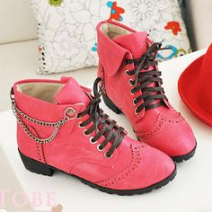 Chain-Accent Lace-Up Boots